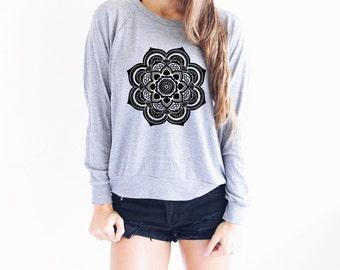 Flower Design - Yoga Sweater - Mandala Sweater - Gray Yoga Top - Yoga Shirts - Yoga Long Sleeve - Long Sleeve Yoga Top - Gift For Yoga Lover