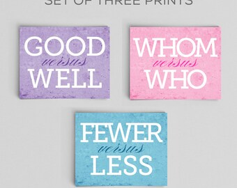 Typographic Print Grammar English Comparison Prints Set of Three 5x7s Great English Gift Teacher Gifts for Teachers English Gifts Gag Gift