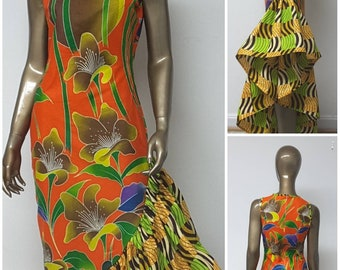 AYALUX Collection. Fitted Maxi Dress. Asymetrical Flounce. Woven Yoke. Handmade. African Prints. OTHER FABRICS Available.