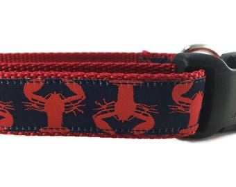 Dog Collar, Lobster, Maine, 1 inch wide, adjustable, quick release, metal buckle, chain, martingale, hybrid, nylon