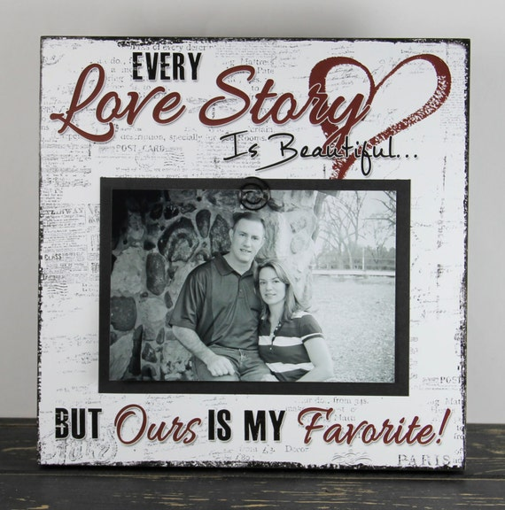 Wedding picture gift, Every Love Story Wood Sign, Family Photo Frame ...