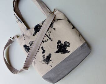 Medium Everything Tote - Black Birds on Grey - 6 Pockets - Removeable Adjustable Strap