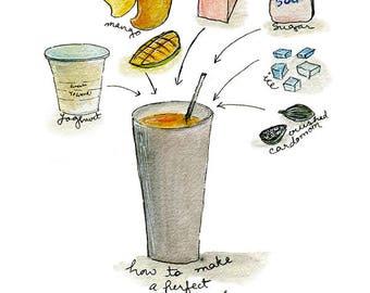 Mango lassi recipe, watercolor illustration, wall art print, kitchen art, food, indian summer, contemporary chic home decor, drinks,