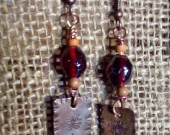 Earrings ' ear copper with flower engraved