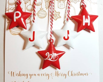 Family Christmas Baubles · set of 5 tree decorations · personalised star bells · personalised baubles · red and white decor · 2017 xmas