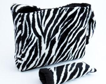 Upcycled ZEBRA FAUX FUR Purse / Shoulder Bag (ooak) Black & White from Upcycled Black Suede and Woman's Designer Zebra Striped Jacket #030
