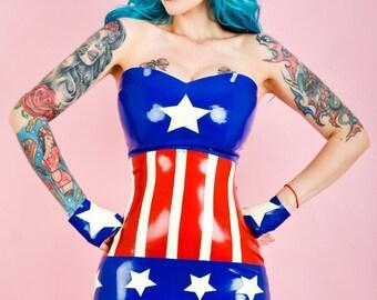 "Captain America inspired cosplay latex dress ""The Cap"""