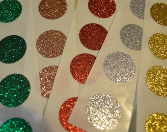 """Christmas Glitter Stickers Mixed Colors Circle Seals - 1"""" x 25 Round Stickers"""