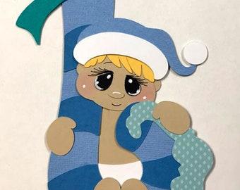 Elite4u Kam 1st Christmas BLONDE Baby Boy paper piecing die cut for Scrapbook Premade page album