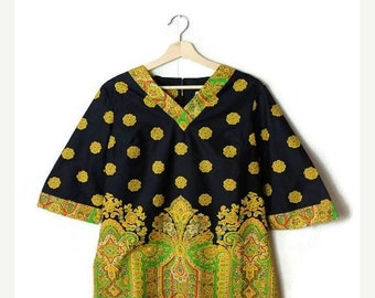 ON SALE Vintage Black x Yellow Paisley Cotton tunic/Tunic Dress from 1970's*