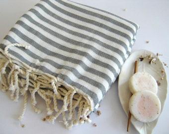 NATURAL Turkish Towel, Peshtemal, Bath and beauty, beach towel, hammam towel, Spa, Gray, Grey Striped, Christmas gift