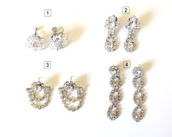 Vintage earrings rhinestones, 3 set of strass earrings retro at your choice