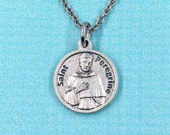 Catholic patron saint of cancer st peregrine medal st patron st of cancer st peregrine necklace st peregrine prayer medal healing necklace st peregrine medal mozeypictures Image collections
