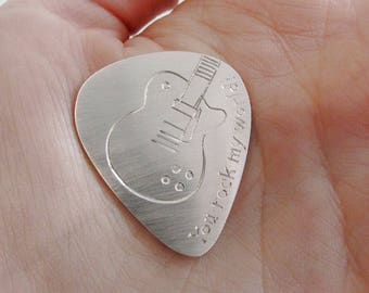 Guitar pick, plectrum, sterling silver, musical gift, guitar gift, pick, handmade, personalized pick