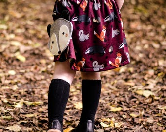 Woodland Animal Skirt, Girls Skirt, Toddler, Handmade, Milly'O, Maroon, Red, Autumn, Kids Clothes, Baby Gift, Fox, Badger, Fall.