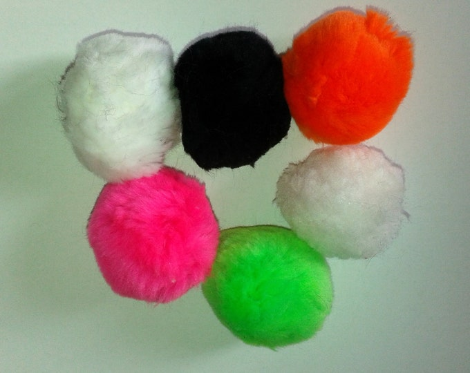 Set of 6 PomPoms for creations customization sewing bag, Keychain, faux fur