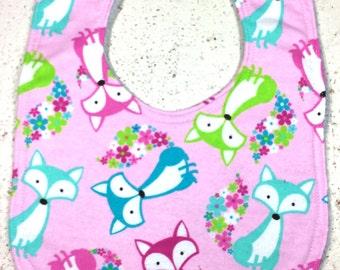 Fox Baby Bib - baby girl - dribble bib - infant bib - flannel bib - baby gift - fox