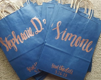Save the Date Gift Bags - Custom Gift Bags - Bridal Shower Gift Bags - Bridal Party Gift Bags - Will You Be My Bridesmaid - Bridal Reveal