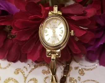 LOUIS ARDEN Ladies Wristwatch, Gold Vintage, Stretch Band, Ladies Analog Vintage Watch, Stretch Band, Gold Watch, Vintage, NEW Battery