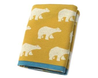 Merino Wool Blanket, Merino Wool Baby Blanket, Boho Baby Blanket, Ochre blanket, Knitted Blanket, Baby Blanket Knit, Baby Bedding, Playroom