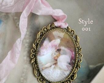 A Fairy Pendant, Bronze colour- Art Fairy, Vintage Style, Fairy Jewelry 30mmx40mmSleeping fairy. Aldo in SILVER