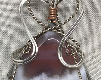 Beautiful Red Wine and White Thunder Egg Agate, Wrapped in Silver, Hematite & Copper Wire