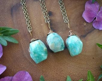 Amazonite  necklace, faceted amazonite necklace,   gemstone necklace,  amazonite pendant