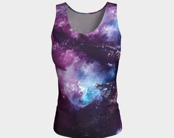 NEBULA Tank Top XS-S-M-L-XL Galaxy Space Stars Planet Abstract art Purple Pink Blue Tee Top Women Teen Clothing Clothes Wearable Art