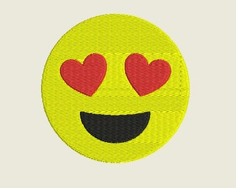 "Emoji Heart Eyes Embroidery file in 3 sizes (1.2"", 2.4"", 3.6"") in multiple file formats for most machines - INSTANT DOWNLOAD - Item #8019"