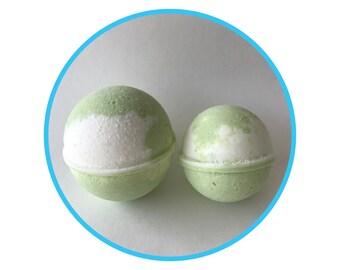 Coconut Lime Verbena Natural Bath Bomb, Fragrance Oil, Shea Butter, Handmade Bath and Beauty