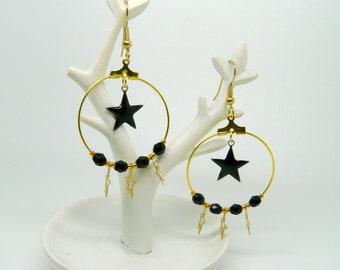 In the stars earrings black gold St
