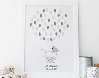 New Baby Fingerprint Art - Vintage Pram (Baby Unisex) PRINTABLE *DIGITAL FILE*