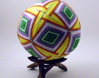 "Japanese Temari Ball - Diamond Design (4 3/4"")"