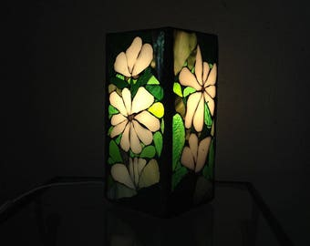 To order. Lamp tiffany stained glass mosaic in shades of green and white