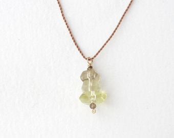 LEMON QUARTZ Pendant Necklace / Stacked Stones / Short Layering Necklace // CAIRN Necklace