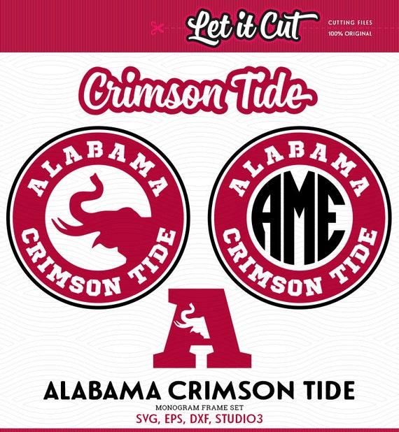 Crimson Circle Studio Creative Spaces: Alabama Crimson Tide Monogram Frame SVG EPS DXF Studio3