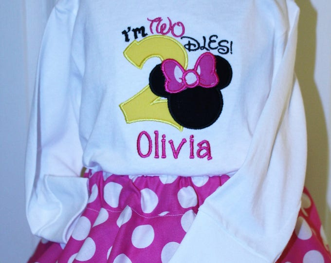 Featured listing image: Minnie Mouse inspired I'm Twodles birthday outfit, Girls Minnie birthday,Girl 2nd birthday shirt,Girls second birthday outfit,Minnie skirt