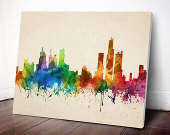 Detroit Skyline Canvas Print, Detroit Cityscape, Detroit Art Print, Home Decor, Gift Idea, USMIDE05C