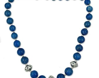 Natural Lepis Lezuli Beads Necklace - Lapis Lezuli Beaded Necklace with Sterling Silver Beads Length 18 inches