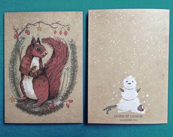 Christmas Card, Folded Card, Squirrel with hazel nut, winter, snow, Din A6, recycled paper