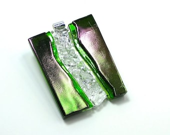 Art Glass Jewelry Dimensional Hand Sculptured Pendant Necklace Green Mardi Gras Diamonds Artist Signed Collection