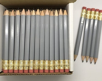 48 Grey Mini short half Hexagon Golf #2 Pencils With erasers Pre-Sharpened Made In the USA - Non Toxic Latex Free Express Pencils TM