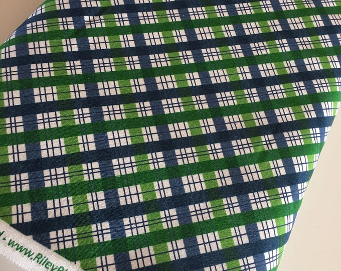 Outdoors fabric, Hike Camp Fish Hunt, Boy Room Decor, Baby Quilt, Tree Arrow, Blue Brown, Outdoors Plaid in Blue - Choose the cut