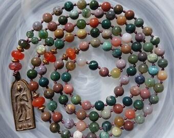 The Earth Rainbow Mala. 108 knotted Mala. Meditation Mala. Beaded Mala. Mala necklace. Buddhist prayer beads.