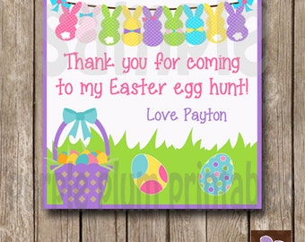 Personalized - Easter Egg Hunt Favor Tag - Easter Birthday Party - Print at Home