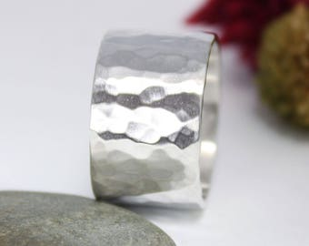 Silver Wide band Ring, Statement Ring, Engagement Ring, Rustic Cuff Ring, Minimalist Cuff Ring, Silver Tube Ring, Wide Cuff Ring