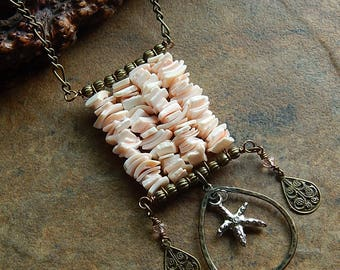 Starfish necklace - mermaid necklace - soft pink coachella style long boho statement necklace - unique layering necklace - festival jewelry