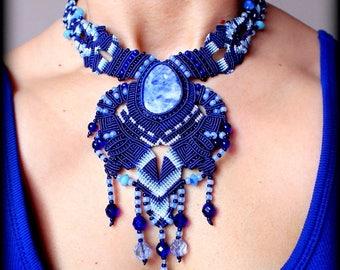 BOHO / BOHEMIAN / BLUE Macrame Women Necklace, Lazurite Cabochon, Preciosa Ornela Glass, C Lon Macrame Thread, Birthday Gift, Women jewelry