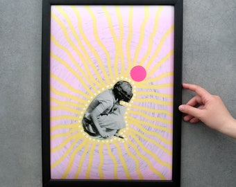 Pastel Pink And Yellow Wall Art, Fine Giclée A3 Print On Hannemule Paper, Surreal Collage Print Gift