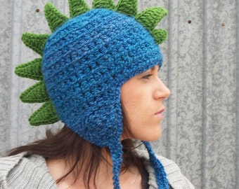 Dragon Hat in Deep End Blue - Dino Hat, Dinosaur Hat, Spike Hat, Adult Geeky Gift